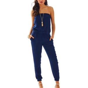 Lilly Pulitzer emiko navy blue straplesss jumpsuit
